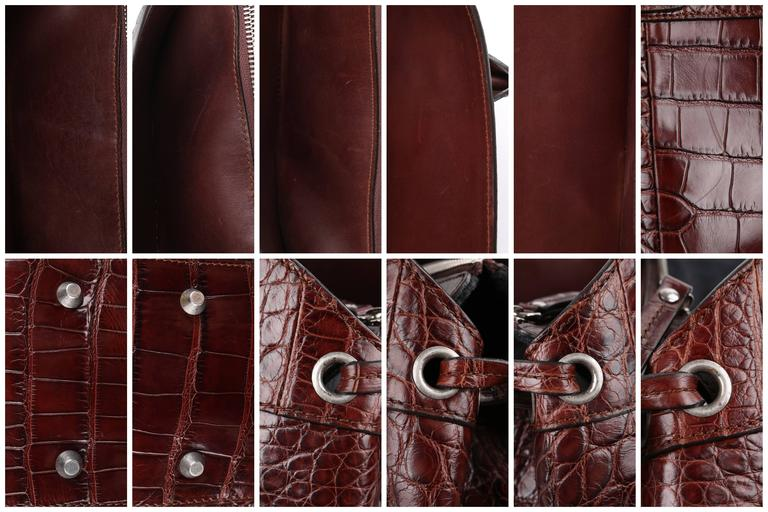 BRUNELLO CUCINELLI Brown Genuine Crocodile Satchel Handbag Purse For Sale 6