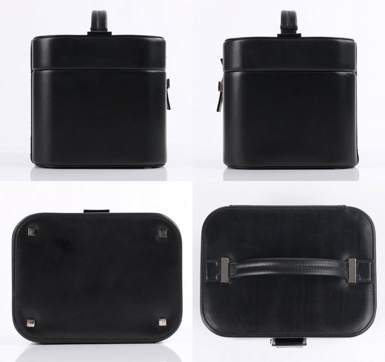 GUCCI Black Genuine Leather Structured Train Case Cosmetic Travel Bag Box Purse For Sale 1