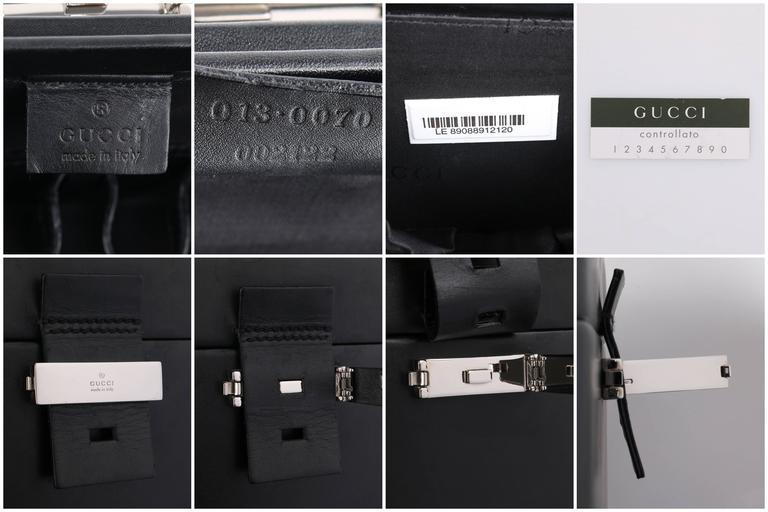 GUCCI Black Genuine Leather Structured Train Case Cosmetic Travel Bag Box Purse For Sale 4