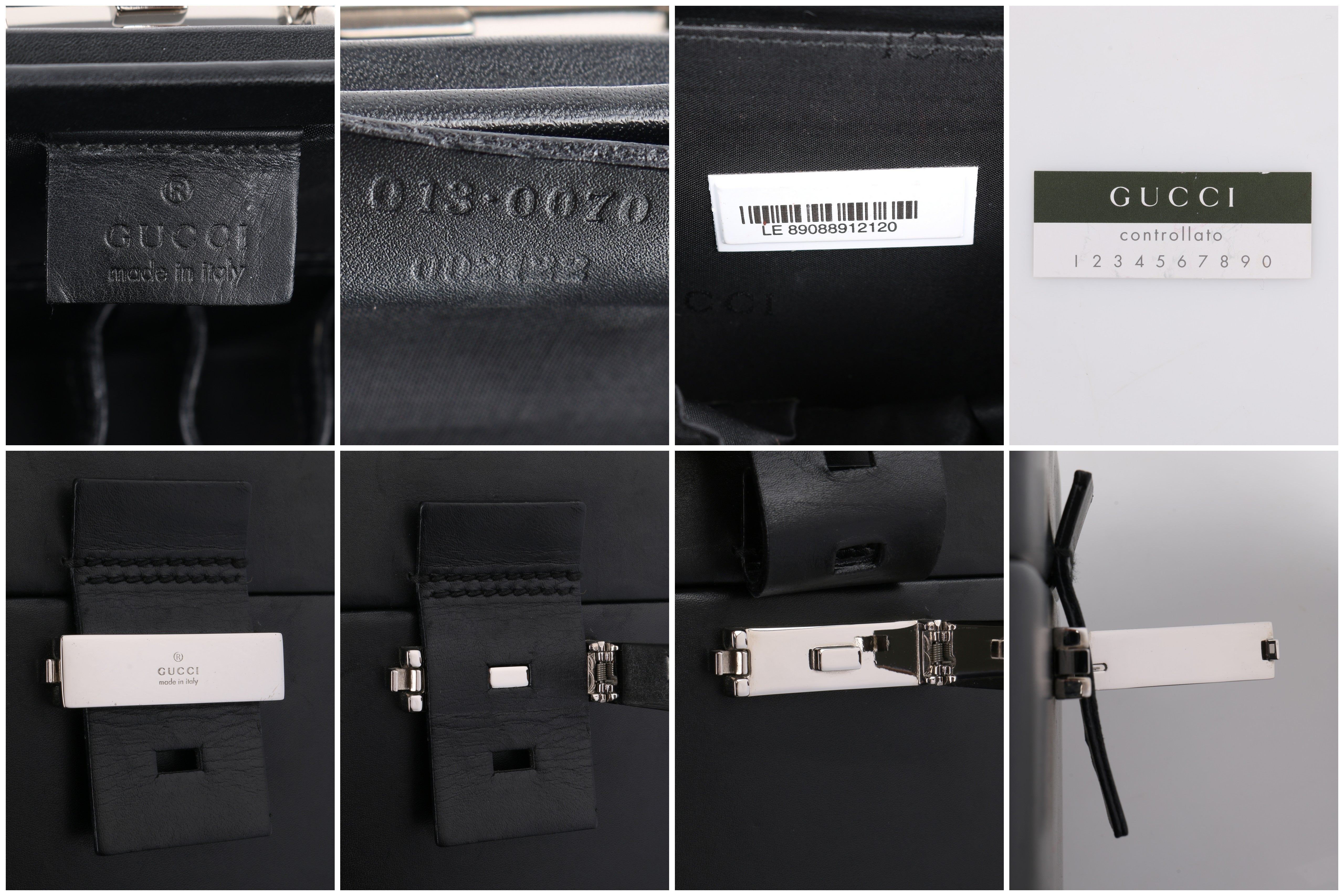 6bdcdc4d6db9 GUCCI Black Genuine Leather Structured Train Case Cosmetic Travel Bag Box  Purse For Sale at 1stdibs