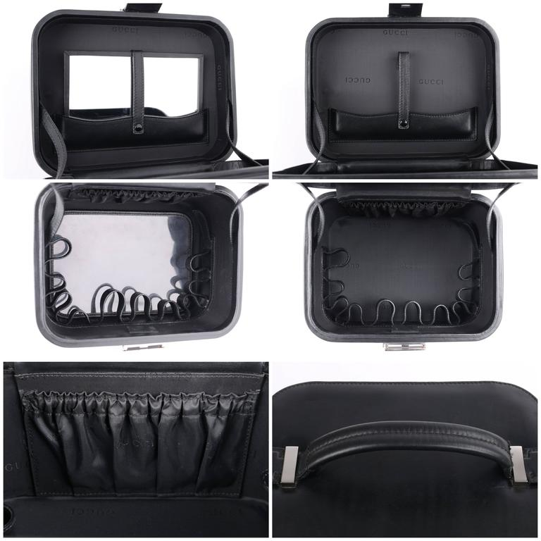 GUCCI Black Genuine Leather Structured Train Case Cosmetic Travel Bag Box Purse For Sale 2
