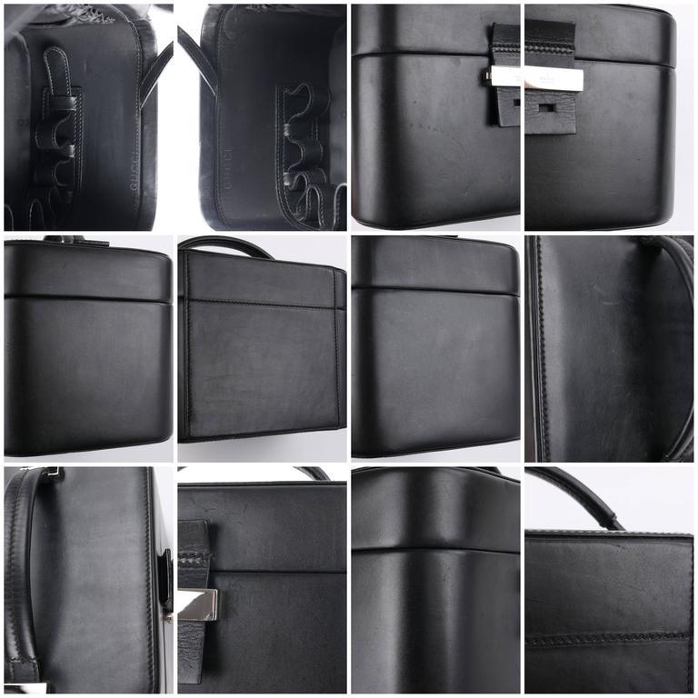 GUCCI Black Genuine Leather Structured Train Case Cosmetic Travel Bag Box Purse For Sale 5