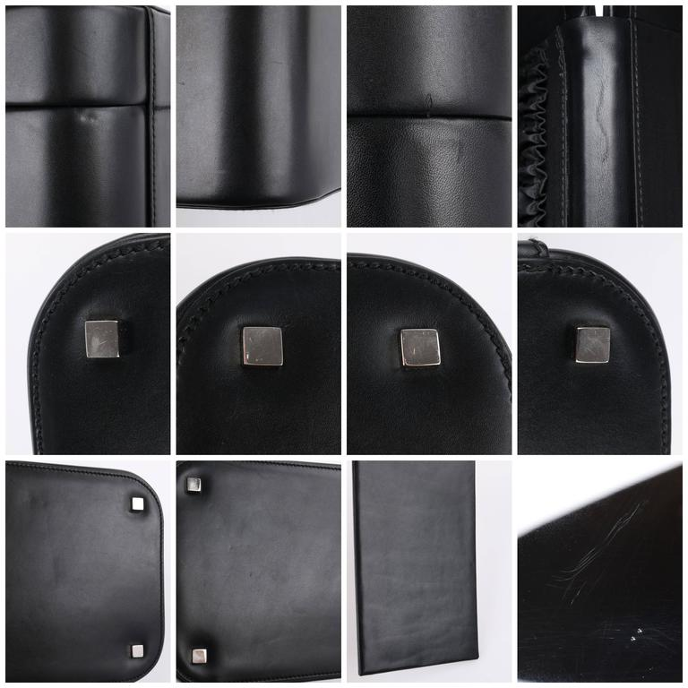 c8363ab476c1 GUCCI Black Genuine Leather Structured Train Case Cosmetic Travel Bag Box  Purse For Sale 6