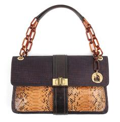 "LANVIN ""Hero"" Navy Blue & Brown Checkered Silk Satin Python Detail Handbag Purse"