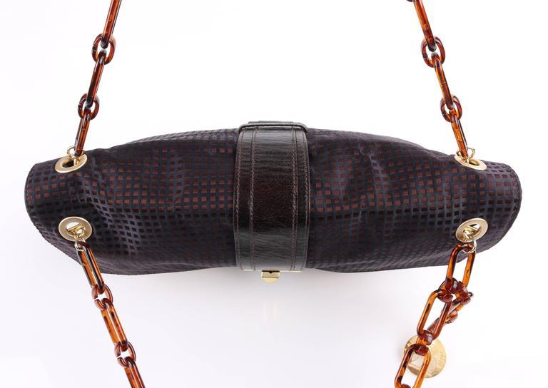 1stdibs Lanvin hero Navy Blue & Brown Checkered Silk Satin Python Detail Handbag Purse zfhIUpH