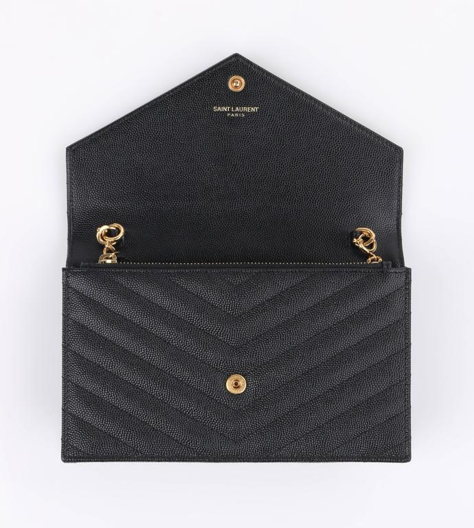 Saint Laurent A W 2015 Ysl Black Quot Monogram Envelope Chain