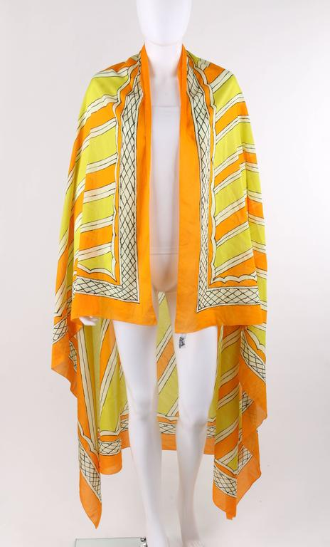 Hermes Giant Orange And Yellow Diagonal Striped Cotton