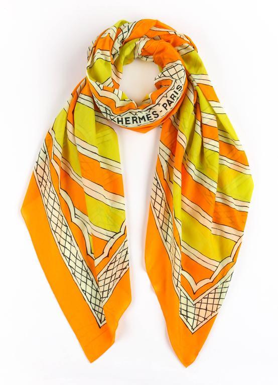 HERMES Giant Orange & Yellow Diagonal Striped Cotton Sarong Scarf Wrap Throw 3