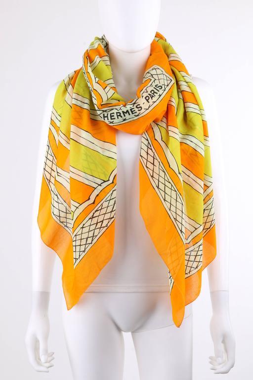 HERMES Giant Orange & Yellow Diagonal Striped Cotton Sarong Scarf Wrap Throw 4