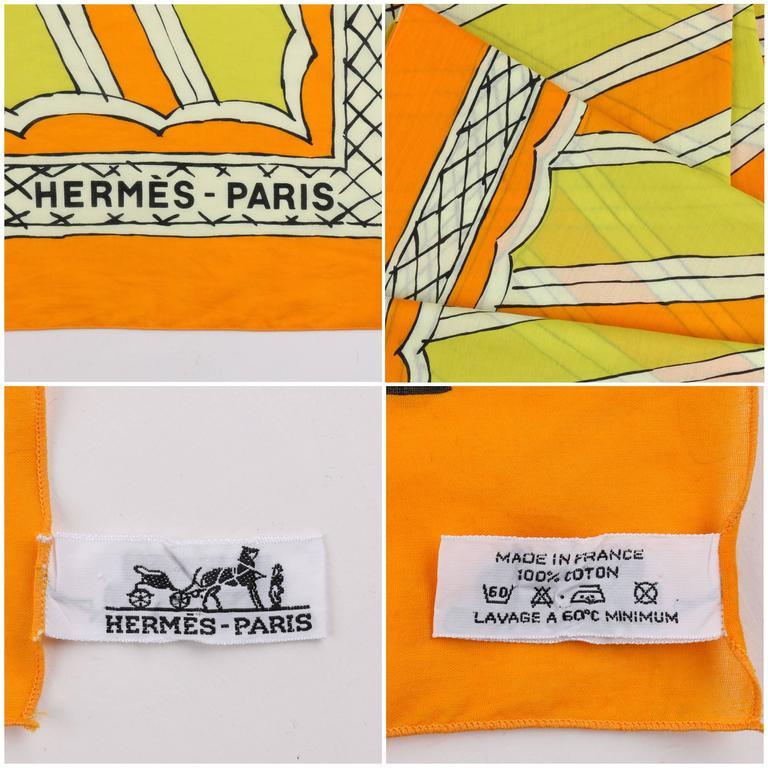HERMES Giant Orange & Yellow Diagonal Striped Cotton Sarong Scarf Wrap Throw 7