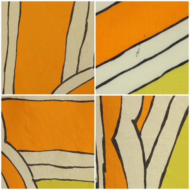 HERMES Giant Orange & Yellow Diagonal Striped Cotton Sarong Scarf Wrap Throw 10