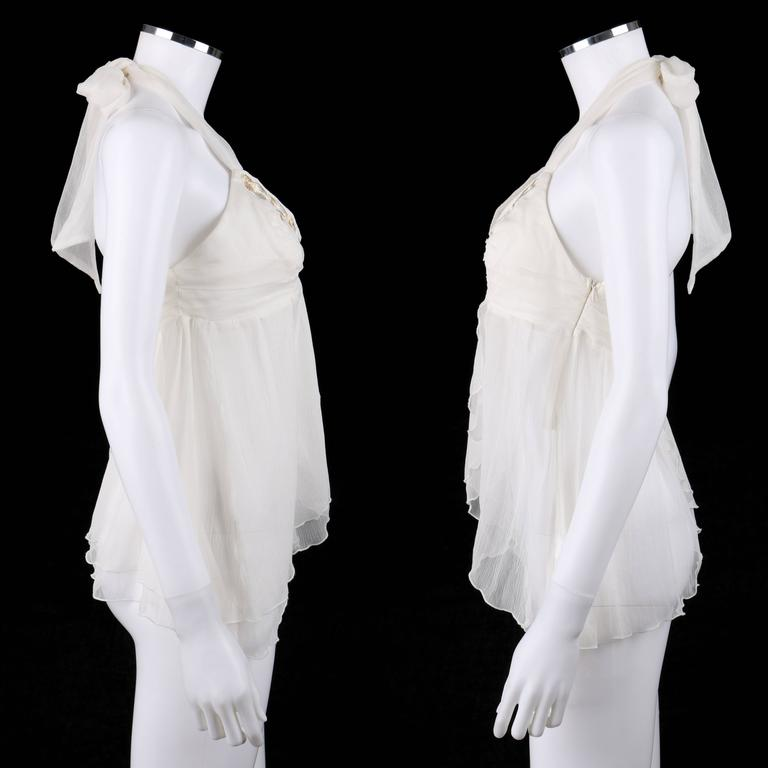 """ALEXANDER McQUEEN S/S 2001 """"Voss"""" White Silk Semi Sheer Chiffon Halter Top NWT In New Never_worn Condition For Sale In Thiensville, WI"""
