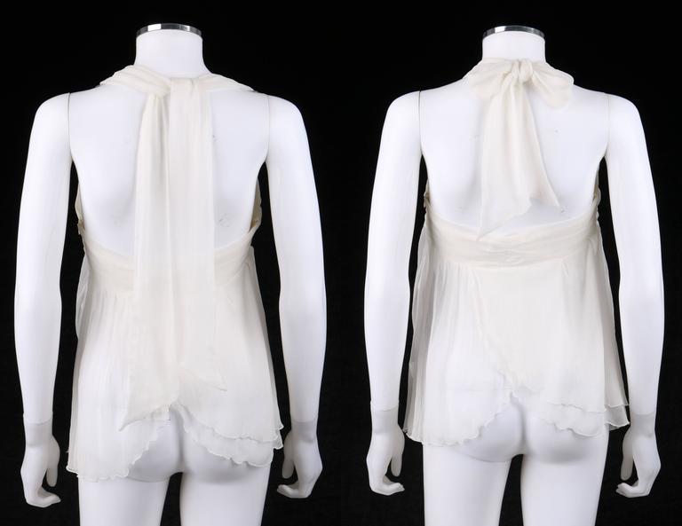 "Women's ALEXANDER McQUEEN S/S 2001 ""Voss"" White Silk Semi Sheer Chiffon Halter Top NWT For Sale"