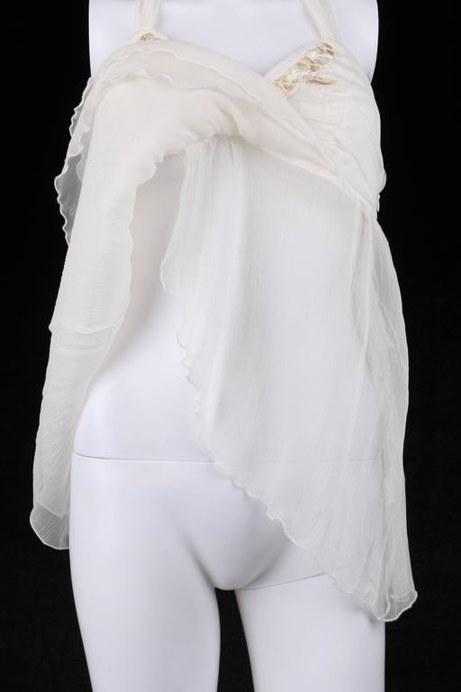 "ALEXANDER McQUEEN S/S 2001 ""Voss"" White Silk Semi Sheer Chiffon Halter Top NWT For Sale 2"