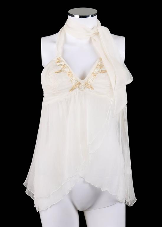 """Alexander McQueen Spring/Summer 2001 white silk semi-sheer crinkle chiffon halter top; New with tags. From Alexander McQueen's """"Voss"""" collection. Beige and cream floral embroidered neckline. Tie halter style. Knife pleated detail at bust"""