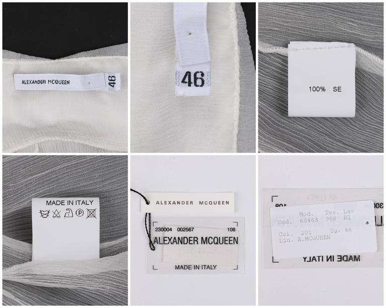 "ALEXANDER McQUEEN S/S 2001 ""Voss"" White Silk Semi Sheer Chiffon Halter Top NWT For Sale 4"