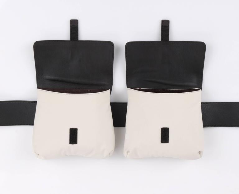 Black PRADA Sport Dark Brown Leather & Winter White Nylon Double Pouch Waist Belt Bag For Sale