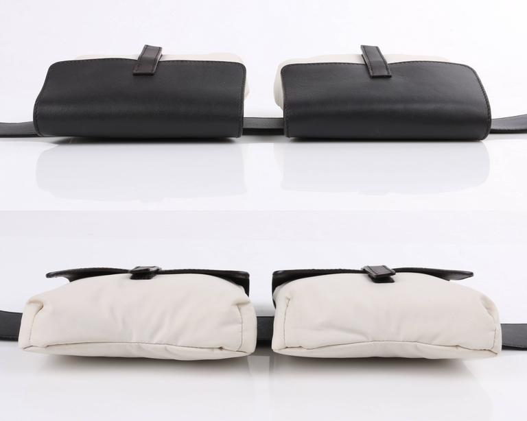 Women's or Men's PRADA Sport Dark Brown Leather & Winter White Nylon Double Pouch Waist Belt Bag For Sale