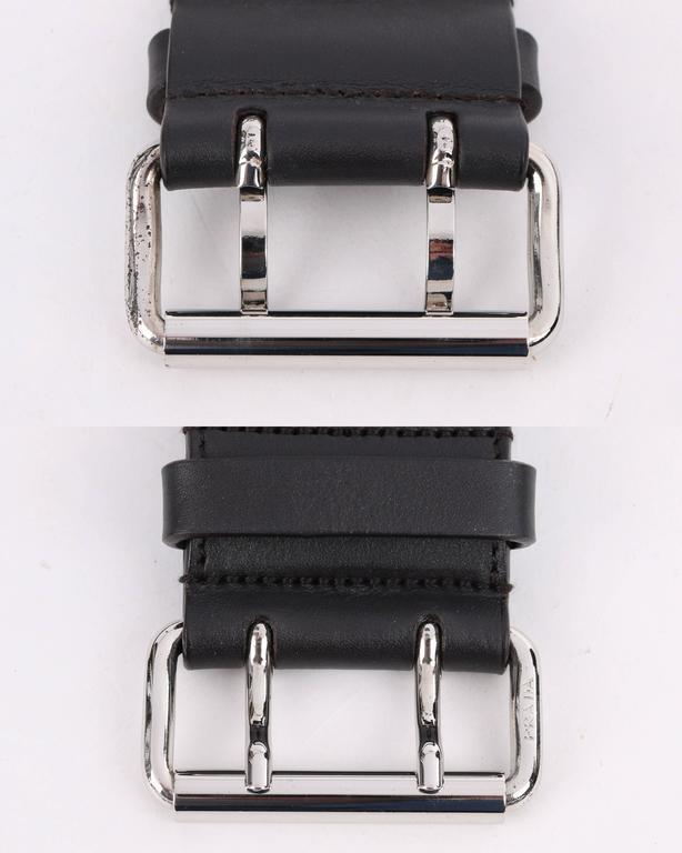 PRADA Sport Dark Brown Leather & Winter White Nylon Double Pouch Waist Belt Bag For Sale 3