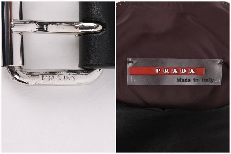 PRADA Sport Dark Brown Leather & Winter White Nylon Double Pouch Waist Belt Bag For Sale 4