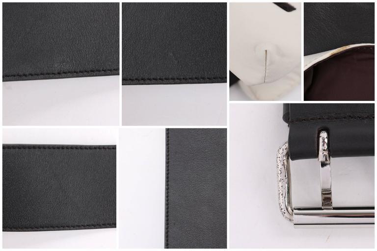 PRADA Sport Dark Brown Leather & Winter White Nylon Double Pouch Waist Belt Bag For Sale 5