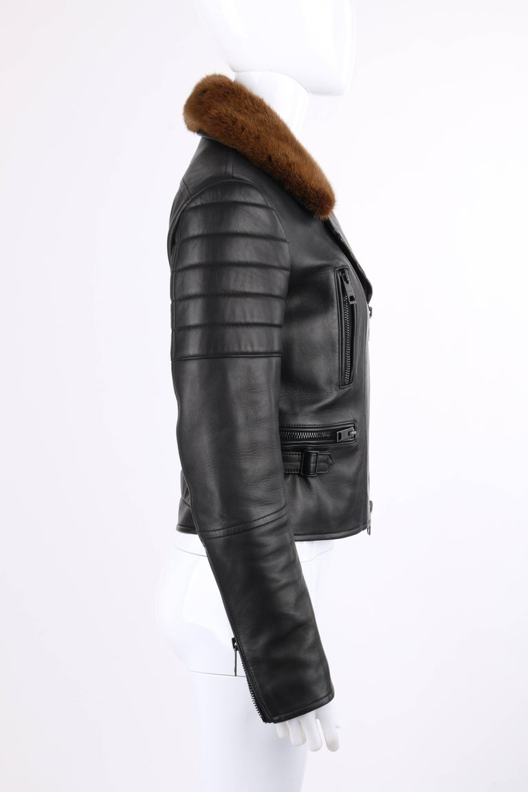 BURBERRY Prorsum Pre-fall 2013 Black Lambskin Leather & Mink Motorcycle Jacket In Excellent Condition For Sale In Thiensville, WI