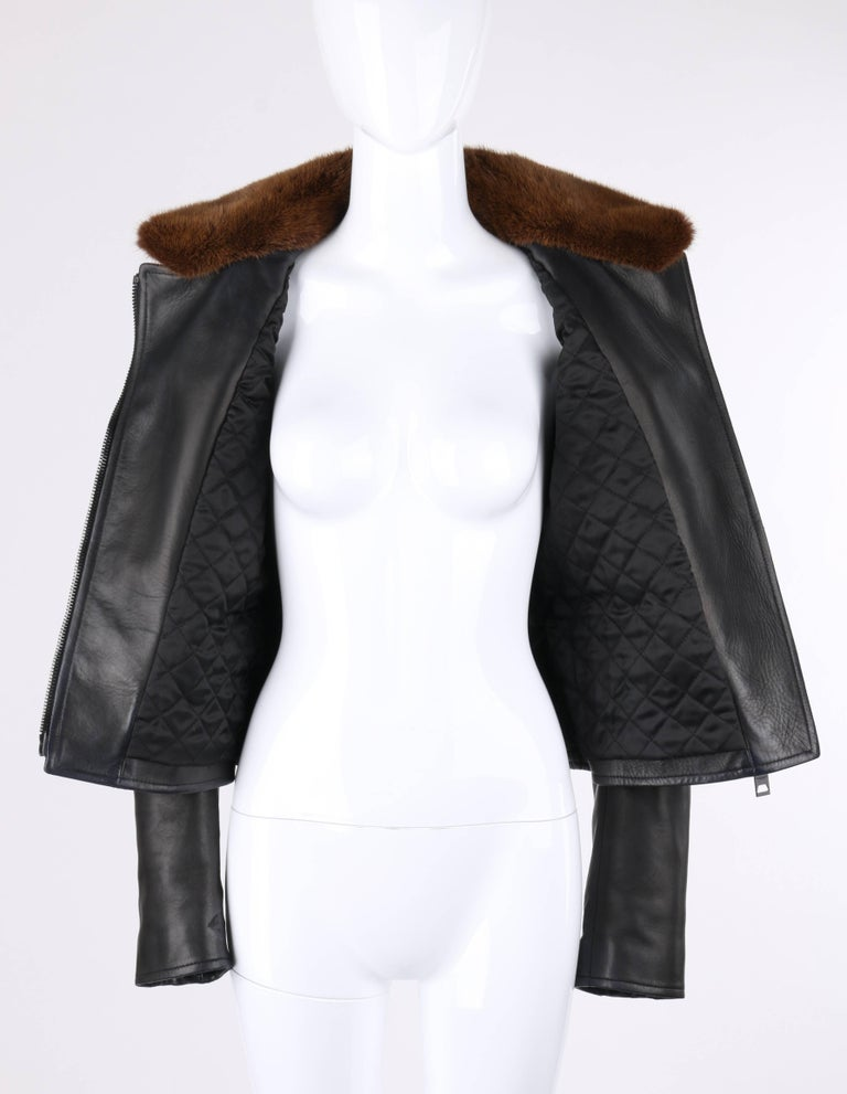Official Site Prorsum Pre-fall 2013 Black Lambskin Leather & Mink Motorcycle Jacket Burberry Best Prices Cheap Price IiRi1