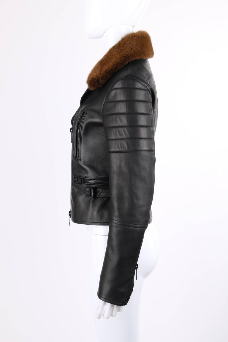 BURBERRY Prorsum Pre-fall 2013 Black Lambskin Leather & Mink Motorcycle Jacket For Sale 1