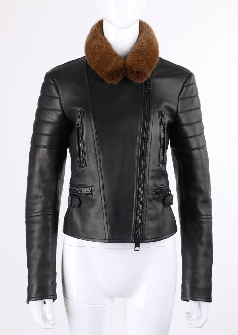Burberry Prorsum Pre-fall 2013 black lambskin leather and copper mink fur collar motorcycle jacket. Long sleeves with quilted shoulder detail and metal zipper gussets at cuffs. Notched lapel collar with mink fur overlay and center front removable