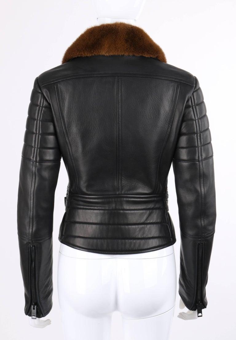 Women's BURBERRY Prorsum Pre-fall 2013 Black Lambskin Leather & Mink Motorcycle Jacket For Sale