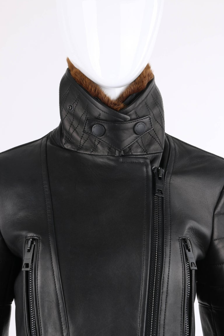 BURBERRY Prorsum Pre-fall 2013 Black Lambskin Leather & Mink Motorcycle Jacket For Sale 3