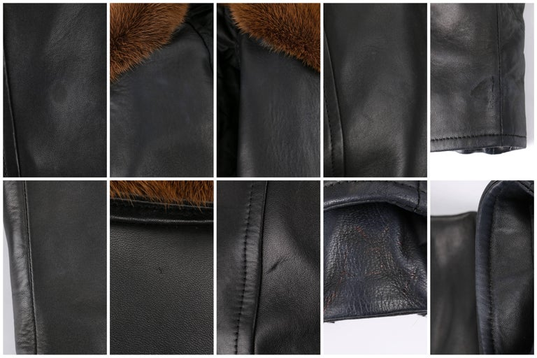 BURBERRY Prorsum Pre-fall 2013 Black Lambskin Leather & Mink Motorcycle Jacket For Sale 5
