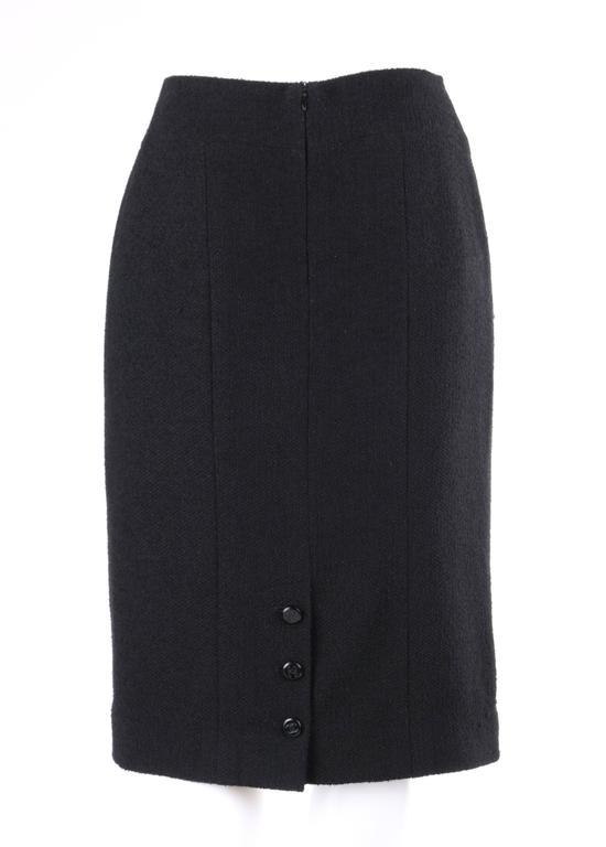CHANEL A/W 1998 2 Piece Classic Black Boucle Wool Blazer Pencil Skirt Suit Set For Sale 3