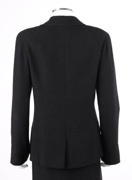 Women's CHANEL A/W 1998 2 Piece Classic Black Boucle Wool Blazer Pencil Skirt Suit Set For Sale