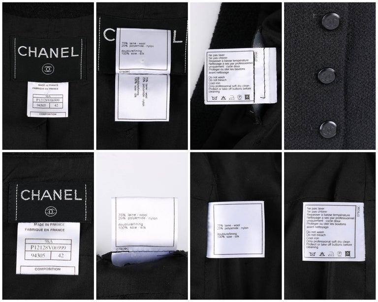 CHANEL A/W 1998 2 Piece Classic Black Boucle Wool Blazer Pencil Skirt Suit Set For Sale 4