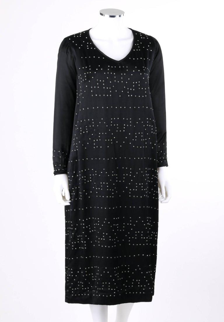 Couture C 1920 S Black Silk Art Deco Crystal Embellished