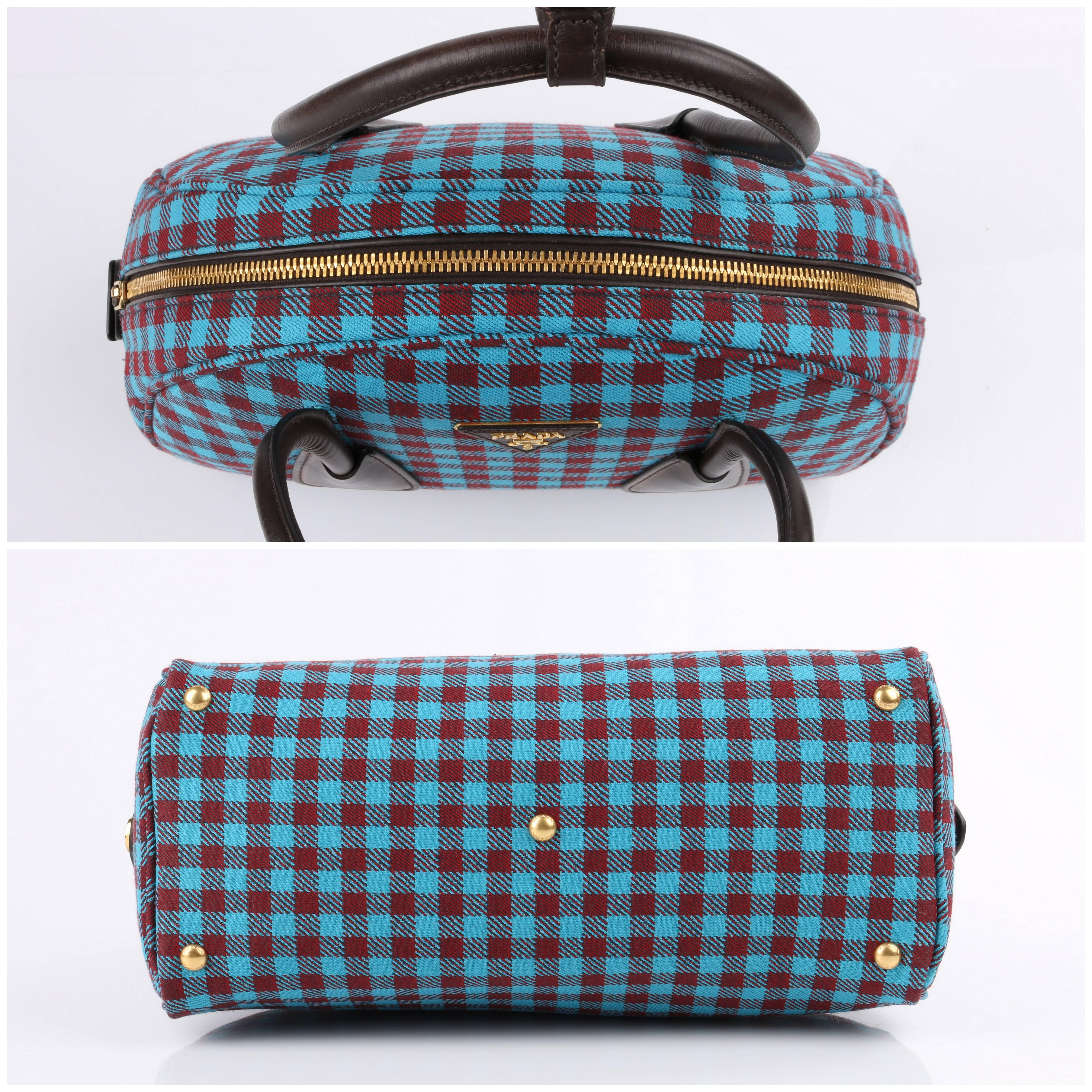 Prada A/w 2013 vichy Check Jacquard Turquoise & Red Gingham Bowler Bag Purse 9ZFrbAe3g