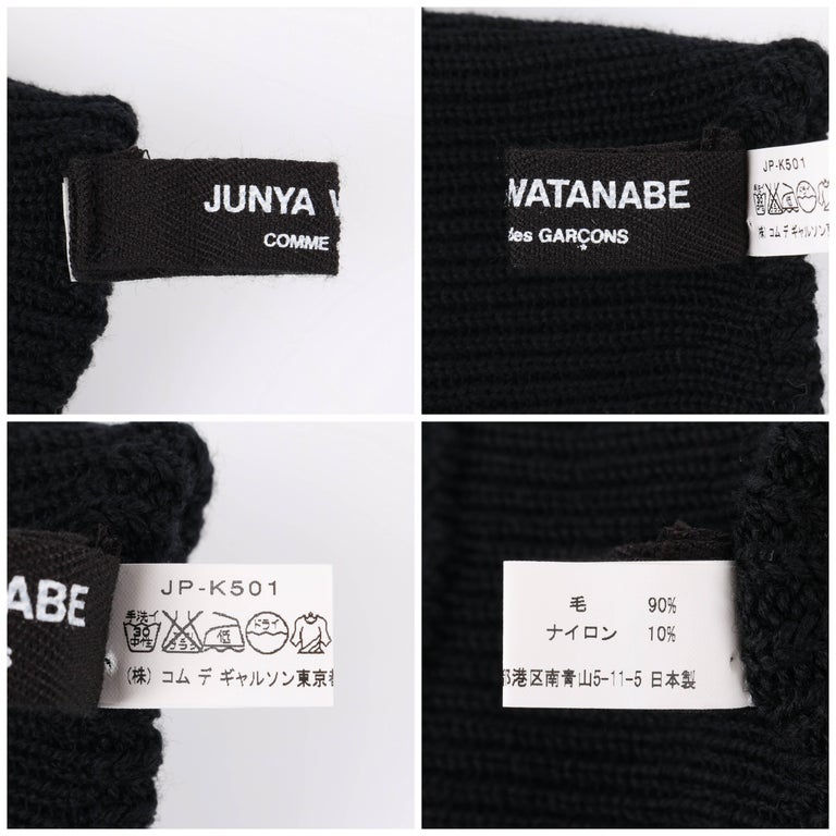 JUNYA WANTANABE for COMME DES GARCONS A/W 2005 Black Wool Knit Leg / Arm Warmers For Sale 4