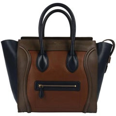 "CELINE Tricolor ""Mini Luggage Tote"" Phoebe Philo Navy Blue Brown Leather Handbag"