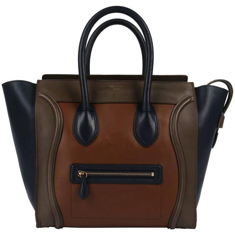 "CELINE Tricolor ""Mini Luggage Tote"" Phoebe Philo Navy Blue Brown Leather Handbag For Sale"