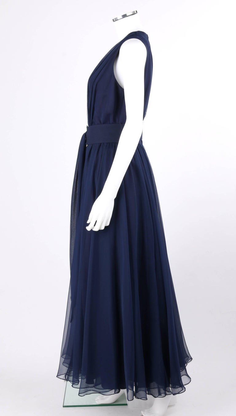 NAT KAPLAN c.1960\'s Navy Blue Chiffon Sleeveless Belted Evening Gown ...