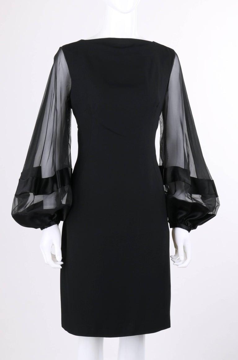 Lilli Diamond C 1970 S Black Wool Sheer Silk Bishop Sleeve