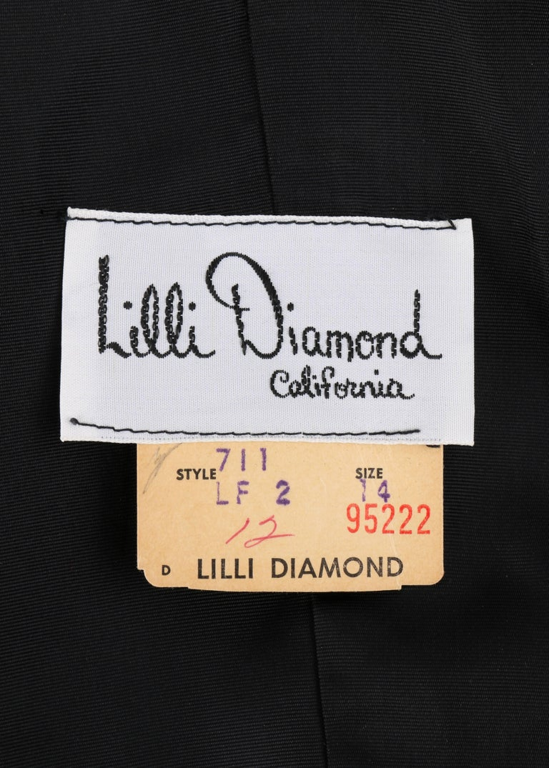 Lilli Diamond C 1970 S Black Wool Sheer Silk Bishop Sleeve