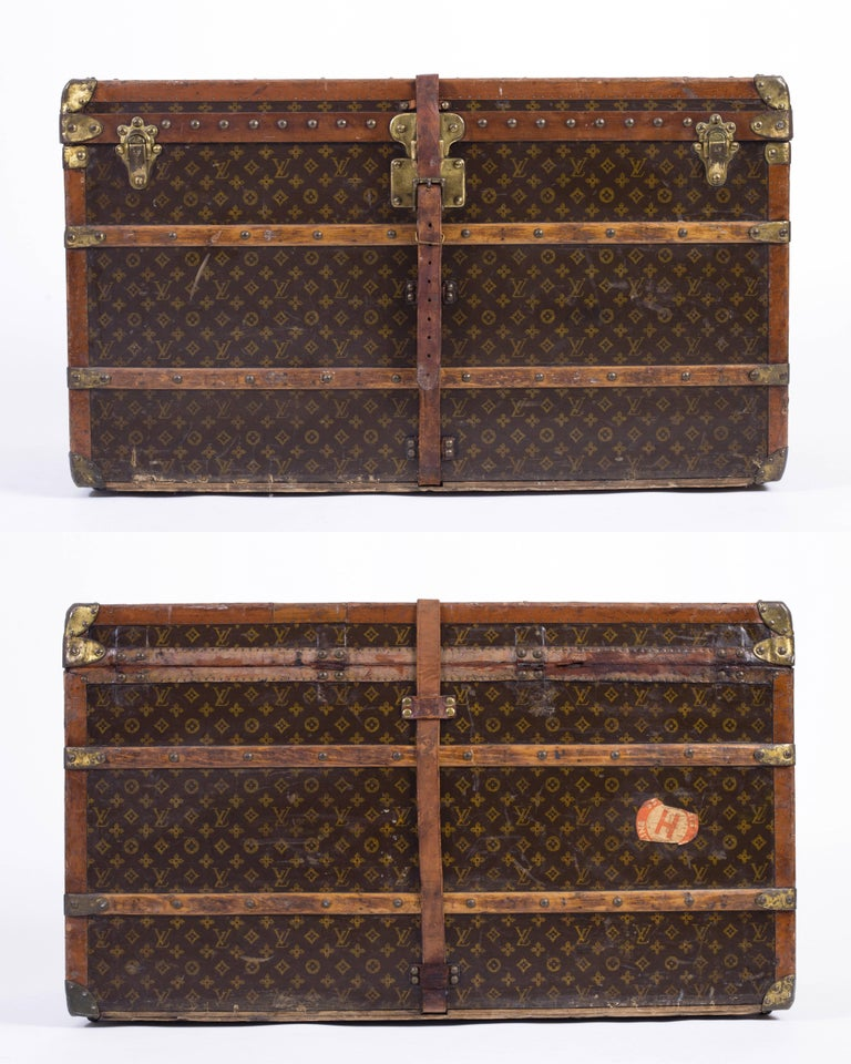 """Vintage Louis Vuitton """"Lady's Trunk"""" early 1920's brown monogram coated canvas and leather wardrobe steamer trunk. Featured in """"Louis Vuitton: 100 Legendary Trunks"""". This trunk was owned by Mrs. Paul Healy; Chicago socialite and"""