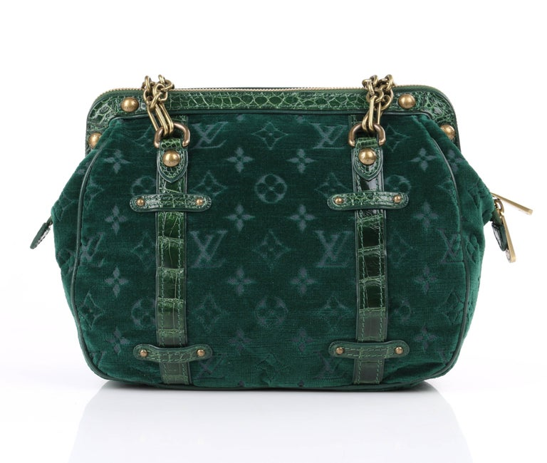 "Limited Edition Louis Vuitton Autumn/Winter ""Gracie MM"" green velour LV monogram and alligator leather purse. Runway look #4. Green LV monogram burnout velour body with alligator leather accent and green leather piping. Frame top with"