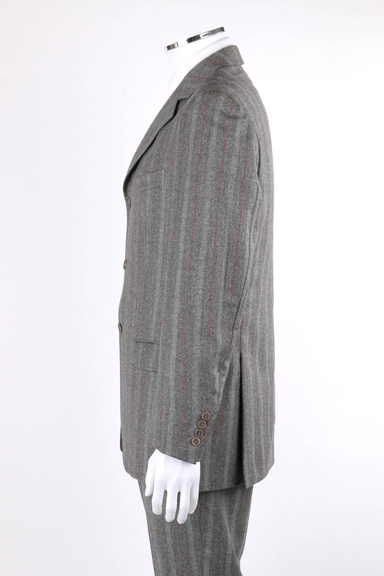 ALEXANDER McQUEEN c.2001 2 Pc Gray & Red Pinstripe Wool Jacket Pant Suit Set 5