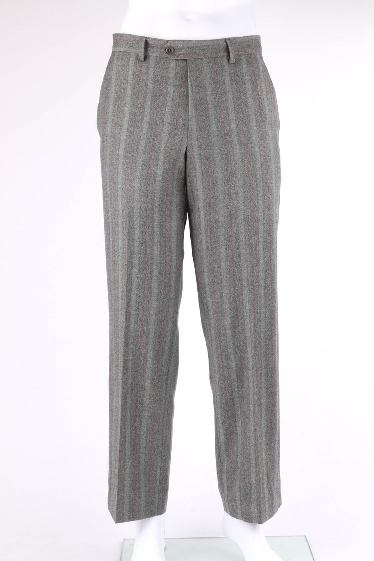 ALEXANDER McQUEEN c.2001 2 Pc Gray & Red Pinstripe Wool Jacket Pant Suit Set 6