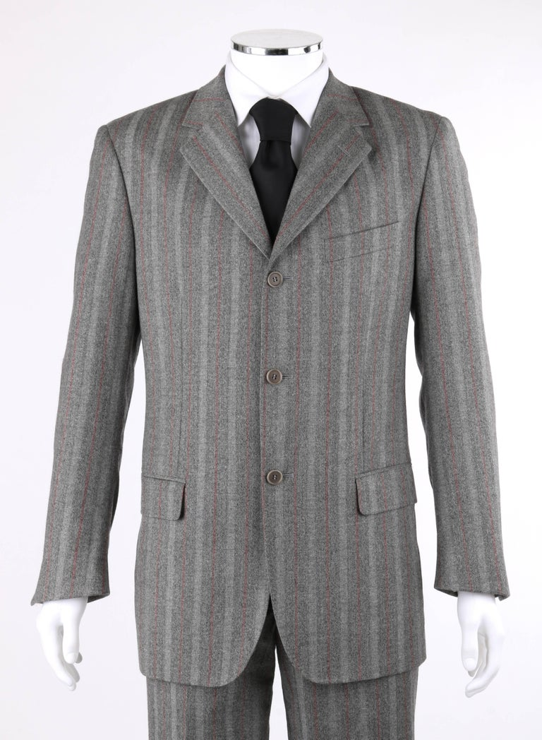 ALEXANDER McQUEEN c.2001 2 Pc Gray & Red Pinstripe Wool Jacket Pant Suit Set 2
