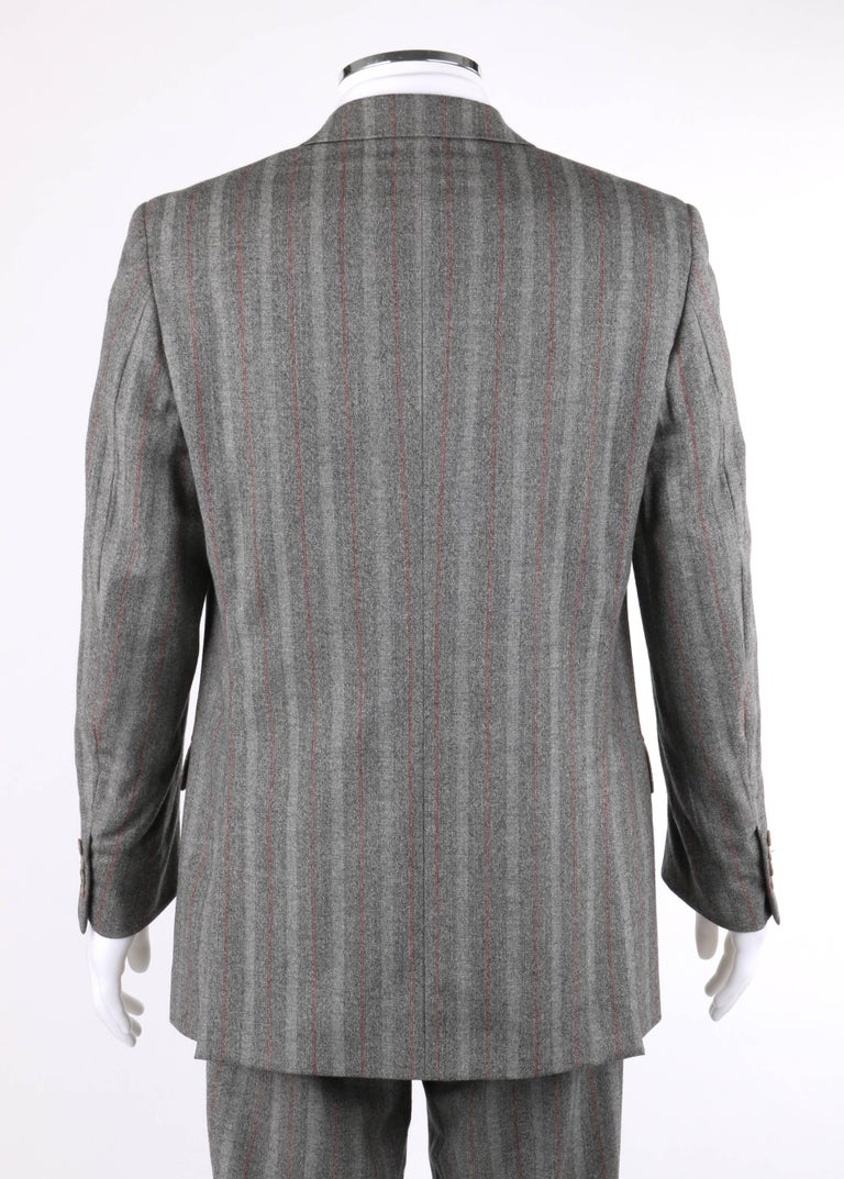 ALEXANDER McQUEEN c.2001 2 Pc Gray & Red Pinstripe Wool Jacket Pant Suit Set 4