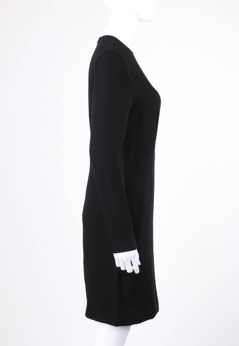 PIERRE CARDIN c.1980's Black & Ivory Colorblock Wool Long Sleeve Shift Dress In Excellent Condition For Sale In Thiensville, WI